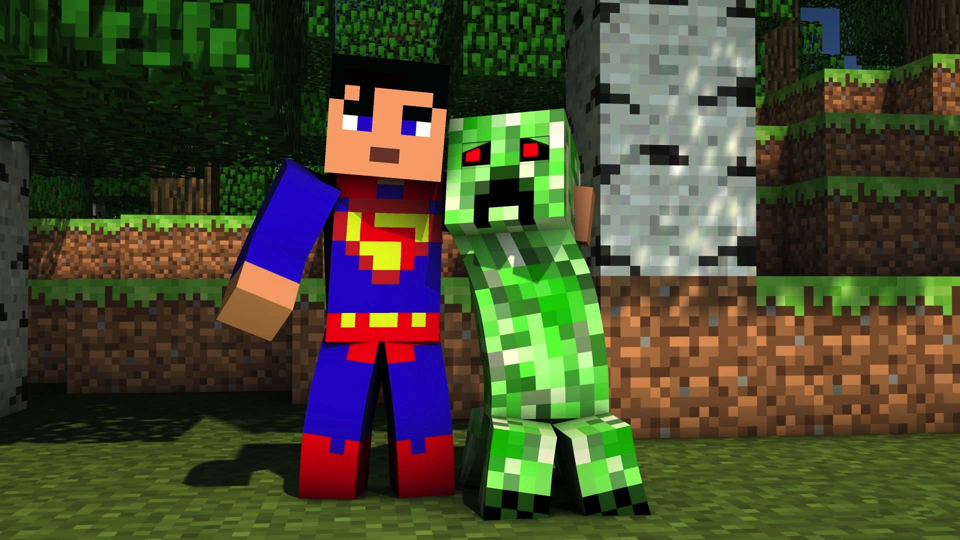 Superman and a Creeper in Minecraft